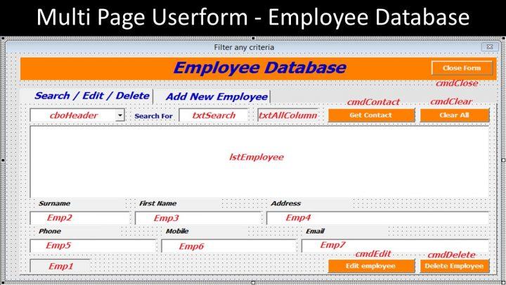 Multi Page Userform – Employee Database