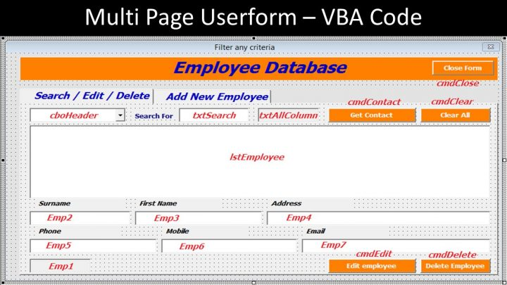 Multi Page Userform – VBA Code for the Employee Database